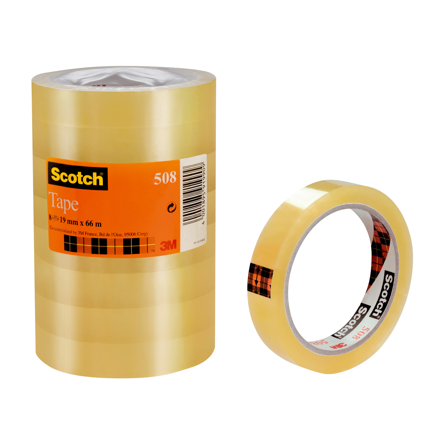 Scotch 508 Clear Tape 19mmx66m Clear Ref 7000080794 [Pack 8]
