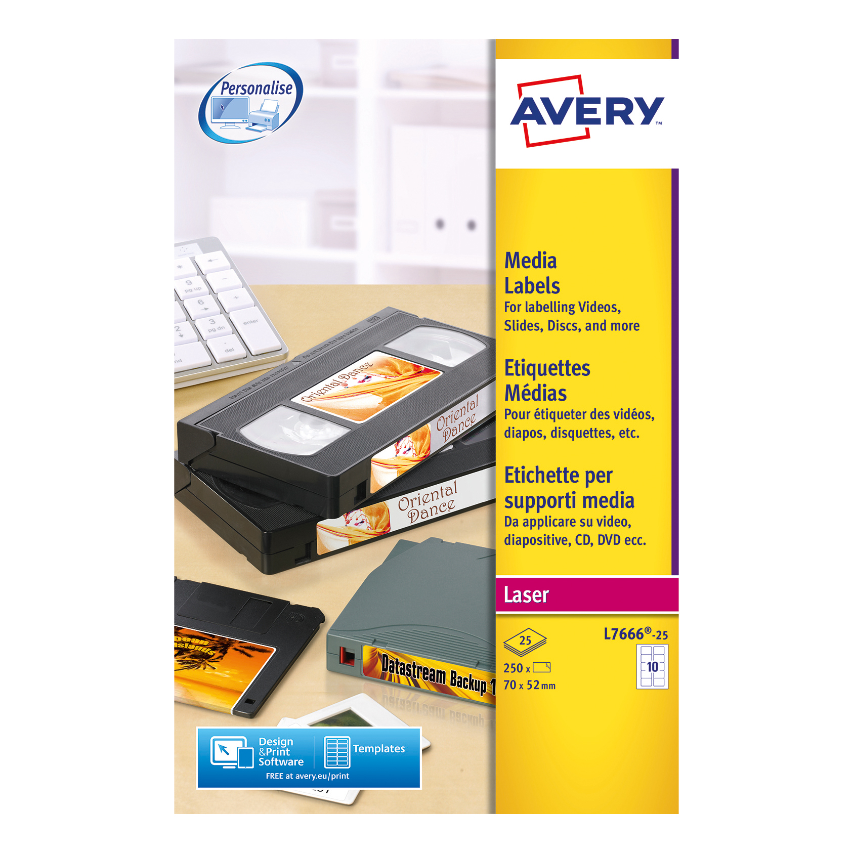 Avery Diskette Labels Laser 3.5 inch Disk 10 per Sheet 70x52mm White Ref L7666-25 [250 Labels]