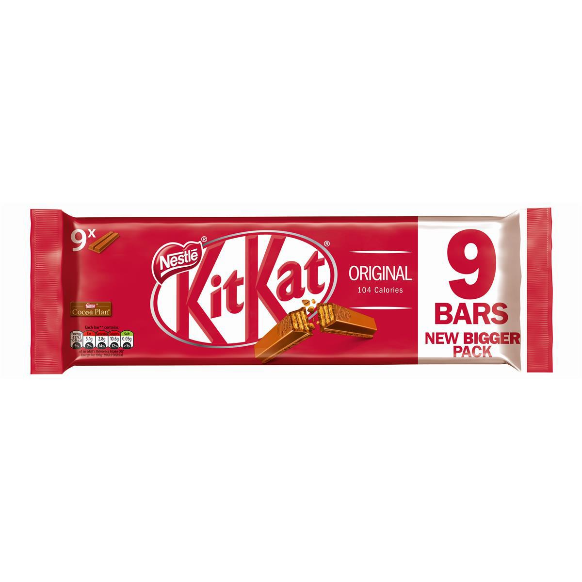 Nestle Kit Kat Bars Milk Chocolate 2 Fingers Ref 12339411 [Pack 9]
