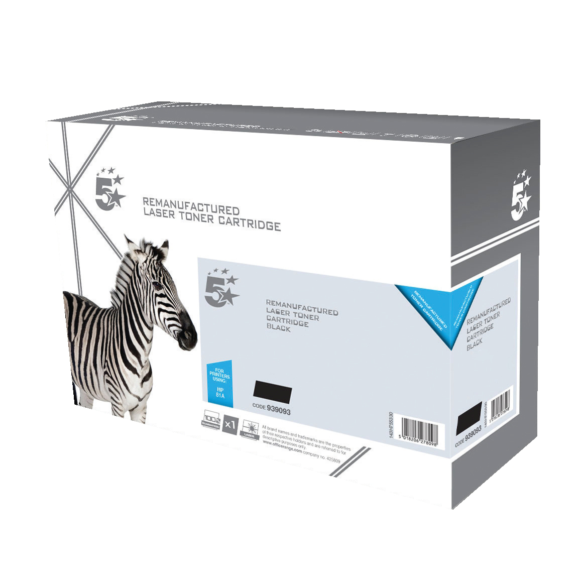 5 Star Office Remanufactured Laser Toner Cartridge HY Page Life 6500pp Black [HP 410X CF410X Alternative]