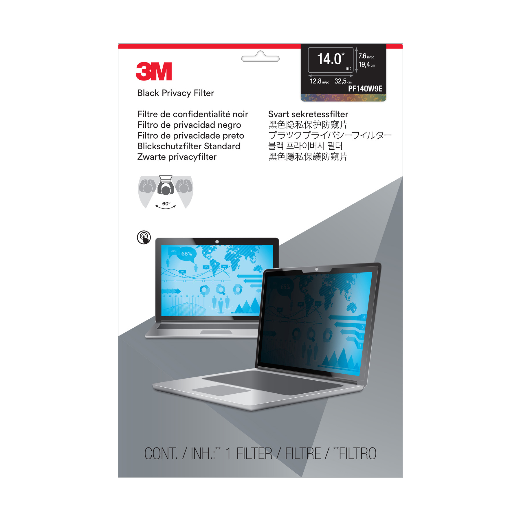 3M Blackout WideScreen Edge-to-Edge Laptop  Privacy Filter 14inch Ref PF140W9E