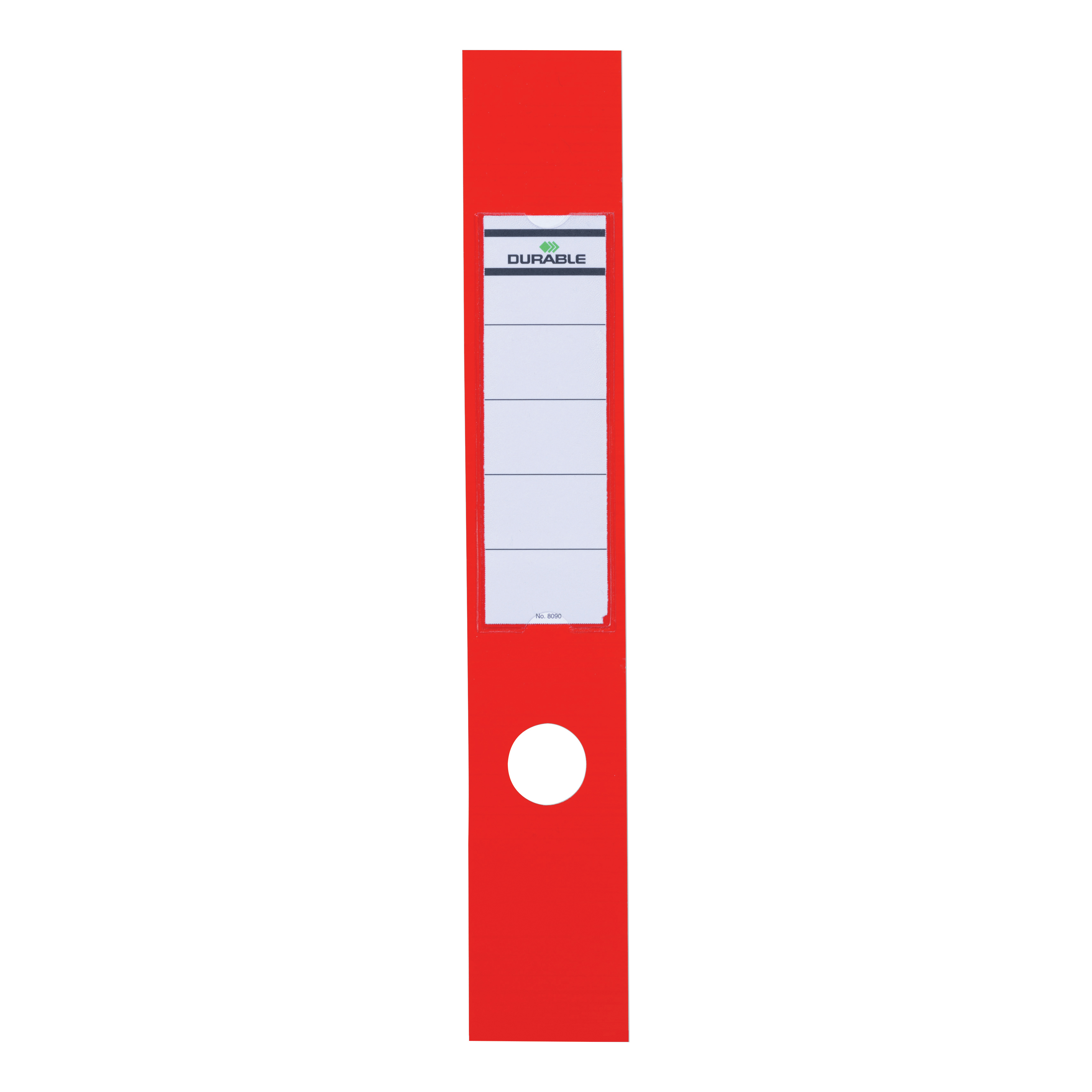 Durable Ordofix Spine Labels 390x60mm Self-adhesive PVC for Lever Arch File Red Ref 8090/03 [Pack 10]