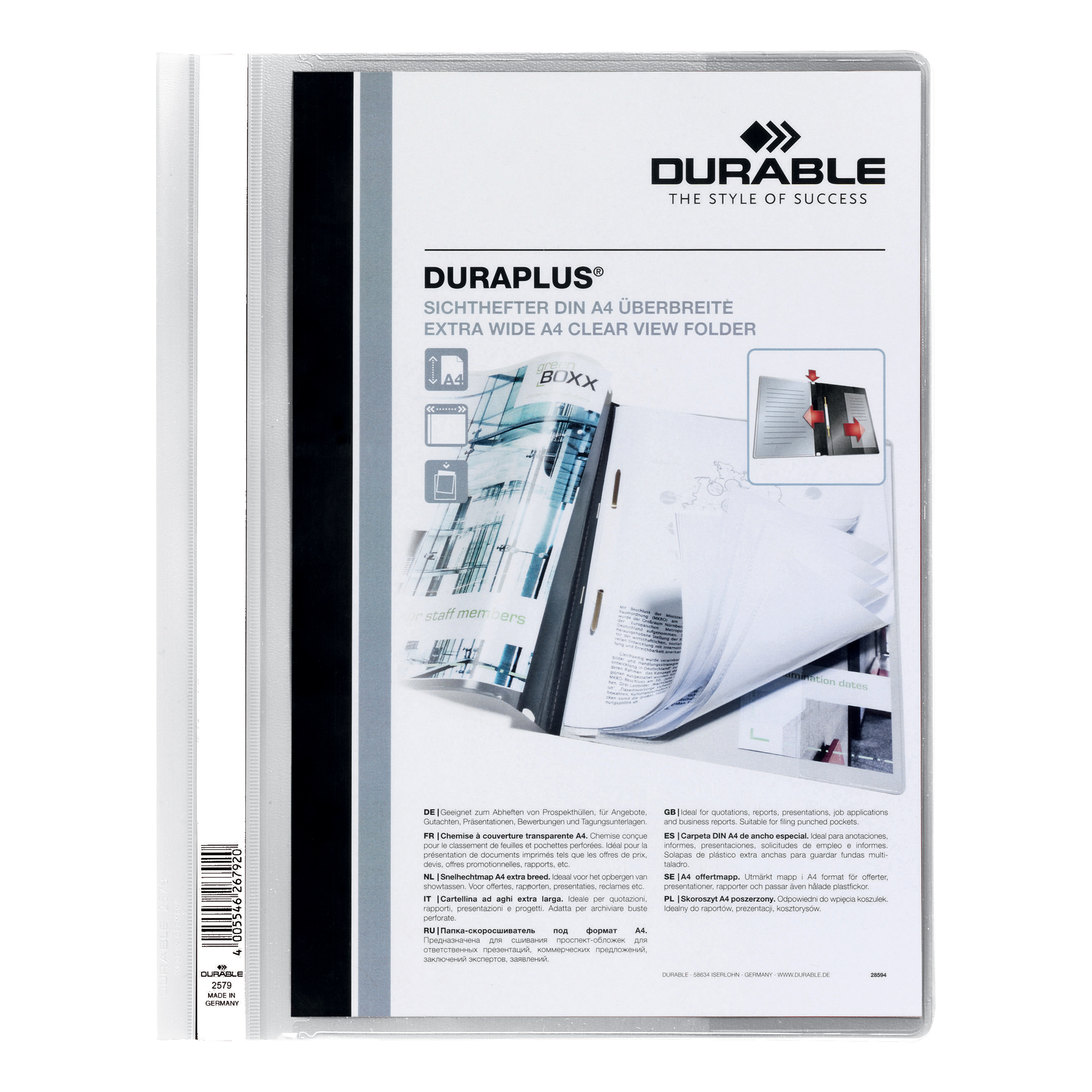 Durable Duraplus Quotation Filing Folder with Clear Title Pocket PVC A4+ White Ref 2579/02 [Pack 25]