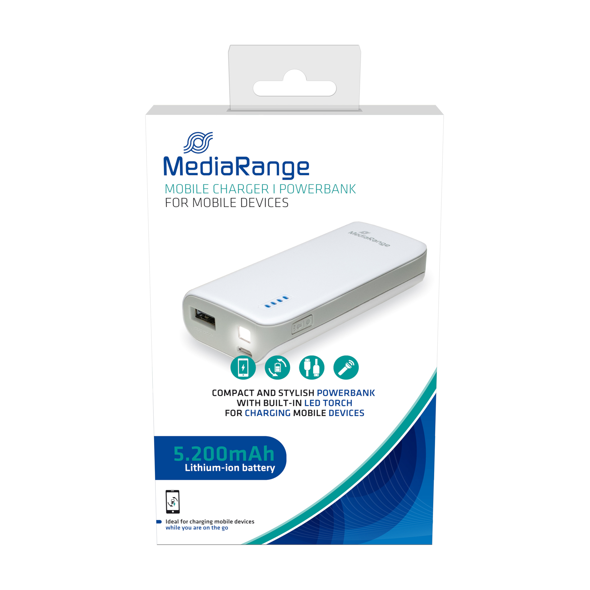 MediaRange Powerbank With Built-in LED Torch 5200 mAh Ref MR751