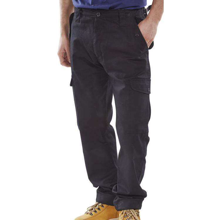 Poly-Cotton Workwear - Click Pc Combat Trs Black 30
