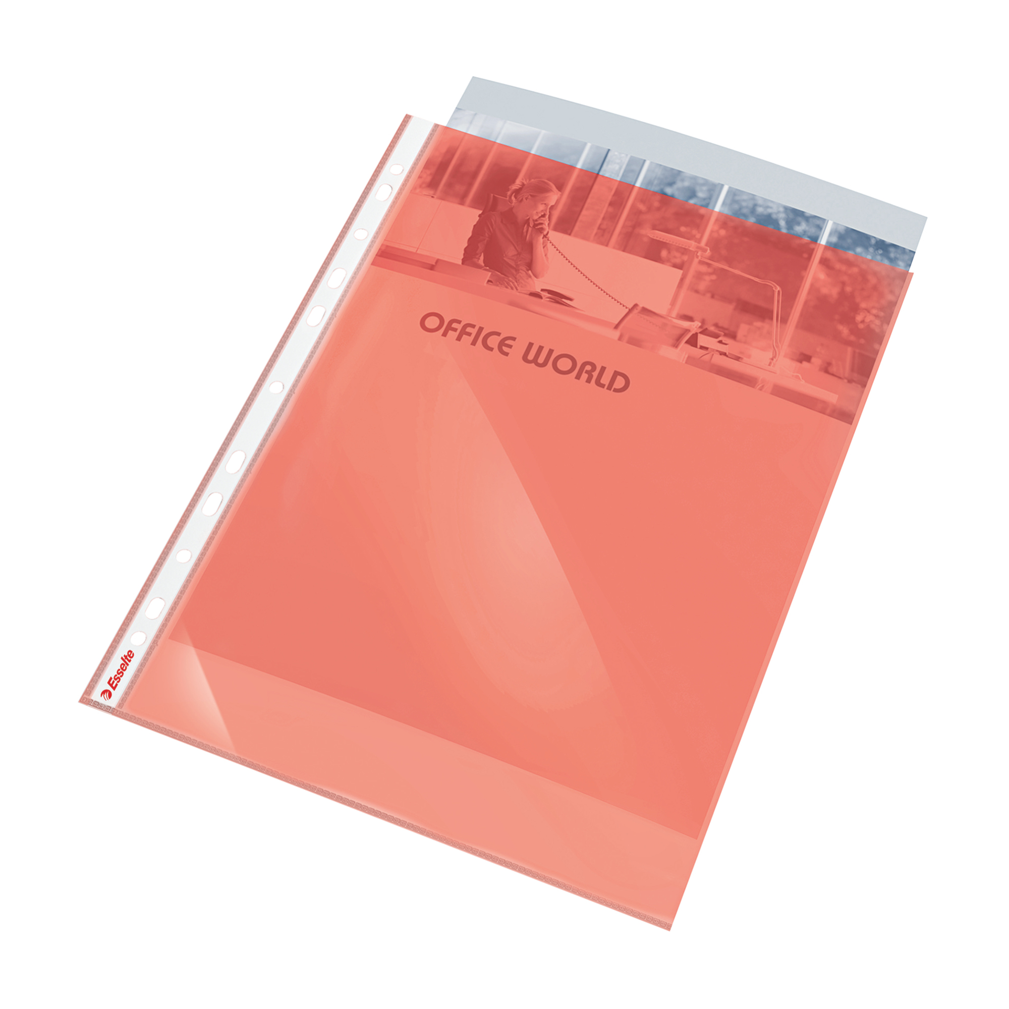 Esselte Coloured Punched Pocket Polypropylene Top-opening 55 Micron A4 Red Ref 47203 [Pack 10]