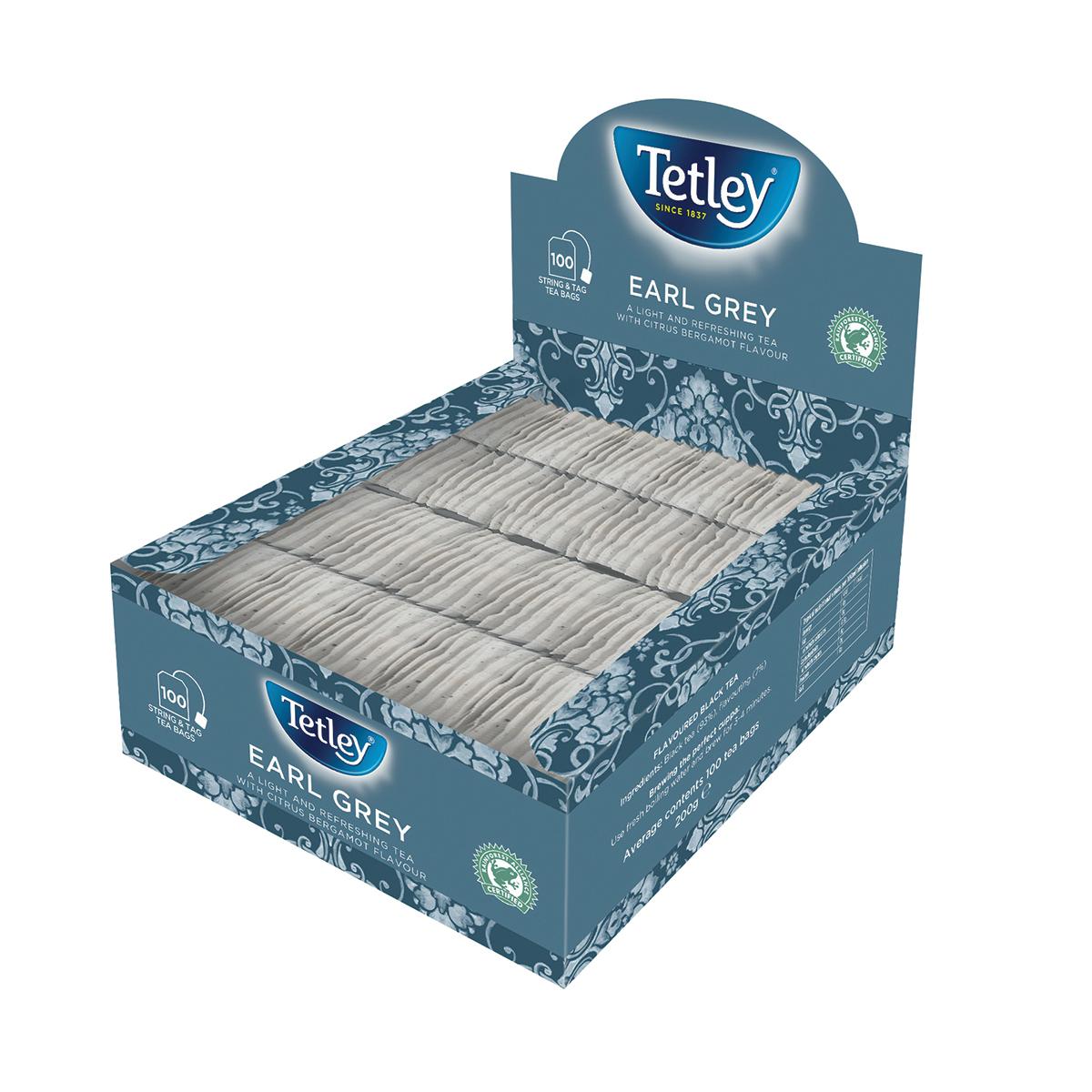 Tetley Individually Enveloped Tea Bags String and Tag Earl Grey Ref 1243Y [Boxed 100]