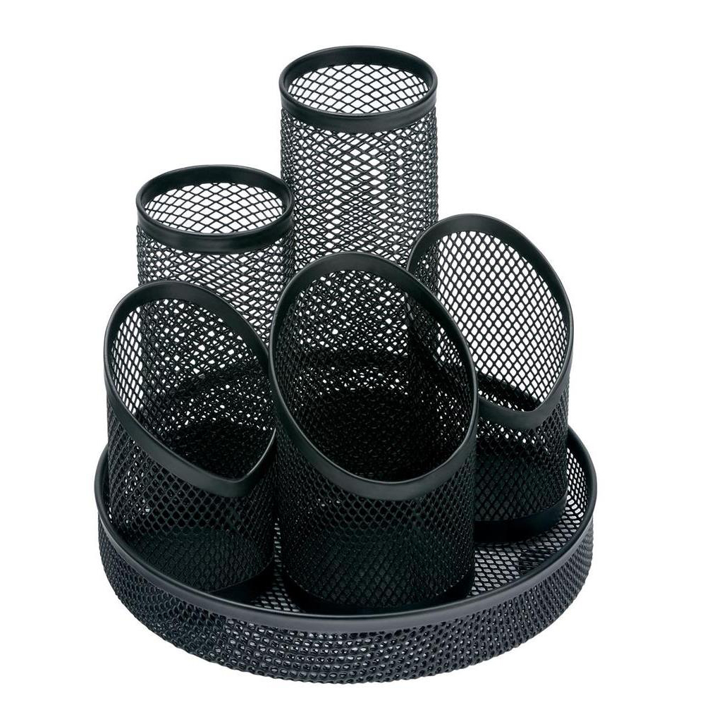 5 Star Office Desk Tidy Wire Mesh Scratch Resistant Non-Marking Base 5 Compartment DiaxH: 160x140mm Black