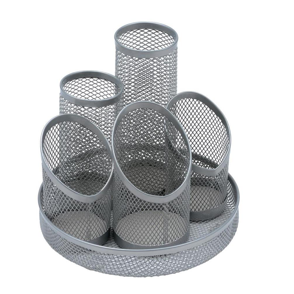 5 Star Office Desk Tidy Wire Mesh Scratch Resistant Non-Marking Base 5 Compartment DiaxH: 160x140mm Slv