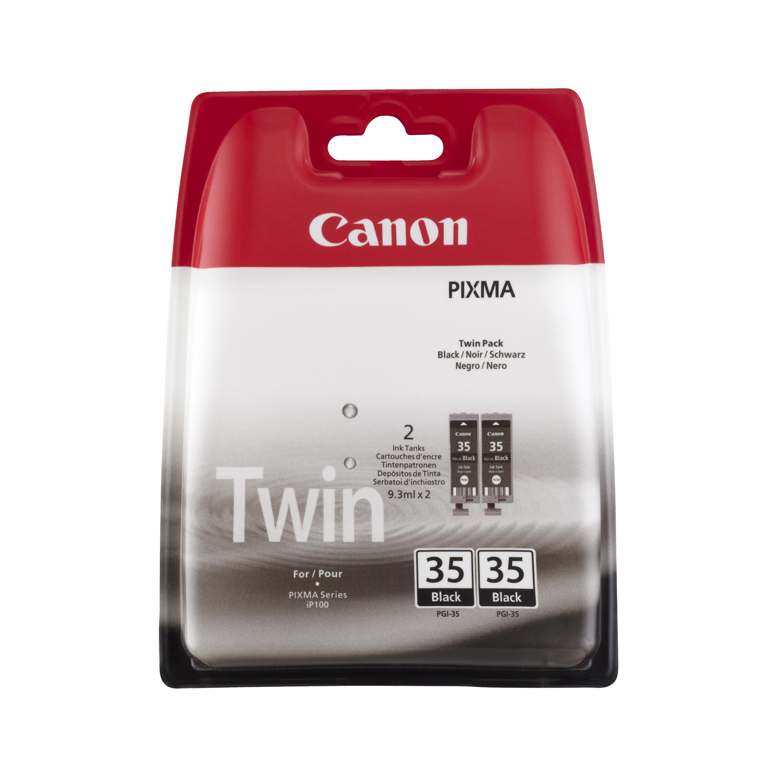Canon PGI-35BK Inkjet Cartridge Page Life 191pp 9.3ml Black Ref 1509B012 [Pack 2]