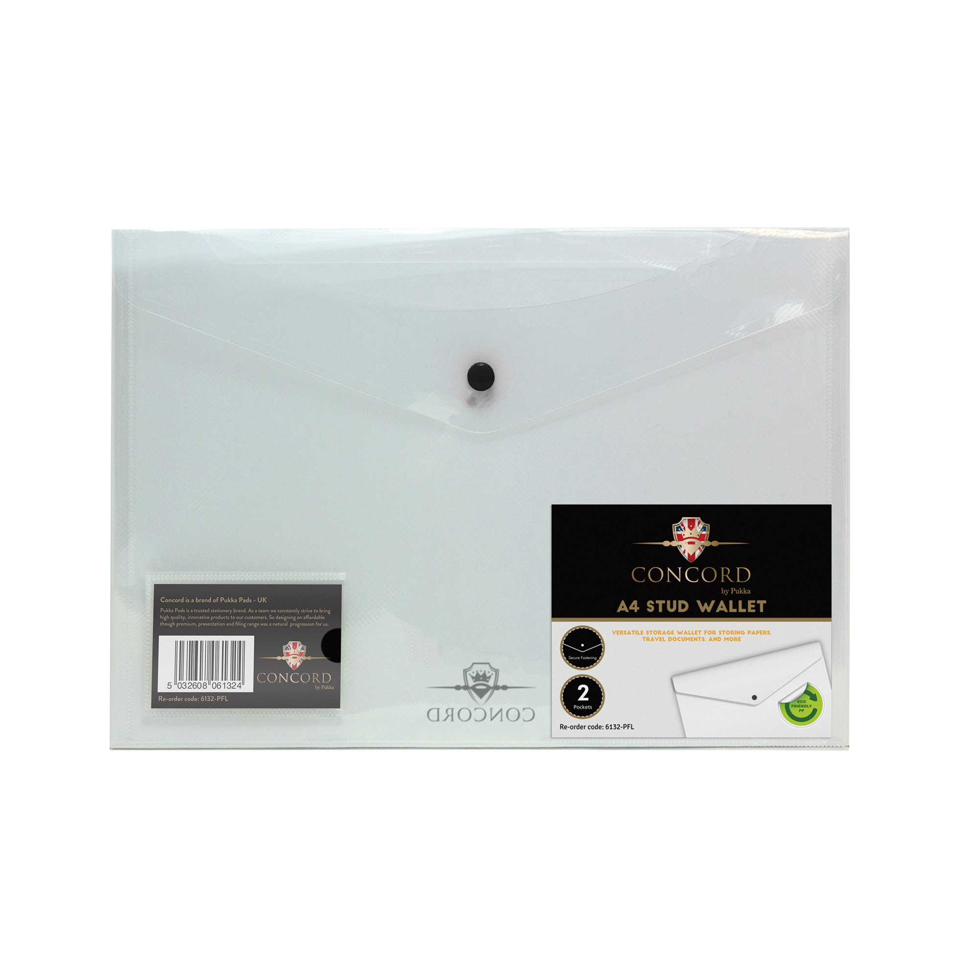 Concord Value Stud Wallet File Polypropylene A4 Clear 6132-PFL [Pack 5]